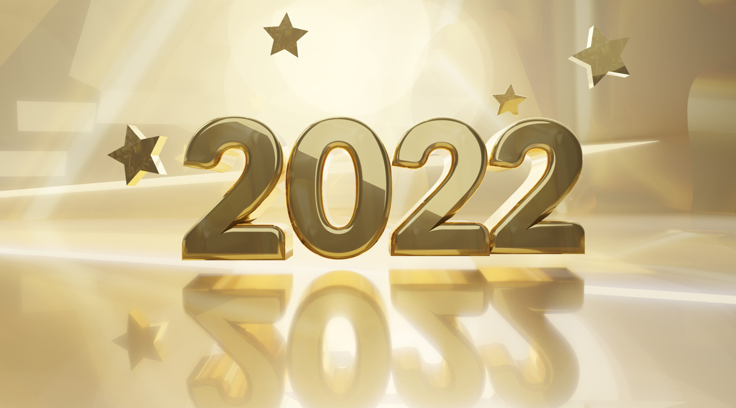 golden design background 2022 3d-illustration